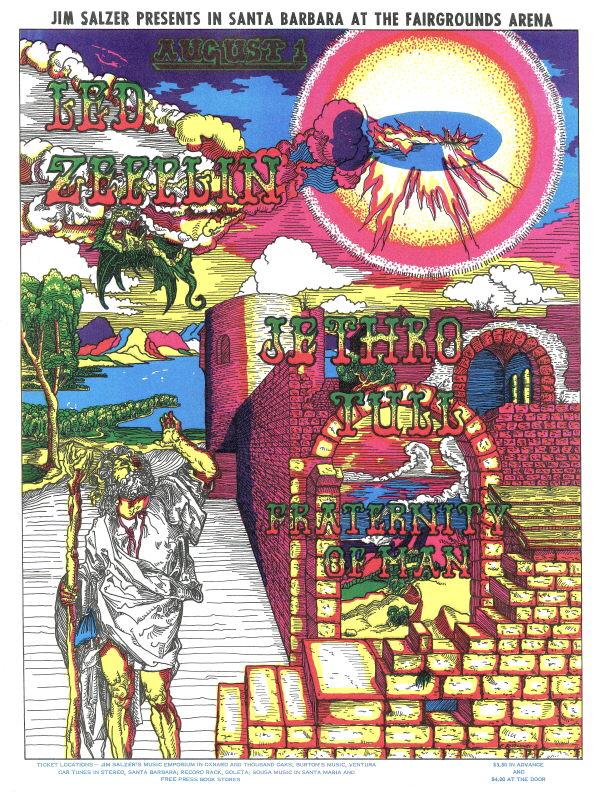 Led Zeppelin and Jethro Tull Santa Barbara concert poster.