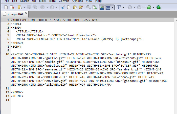 HTML 3.2 document, a collector's item.